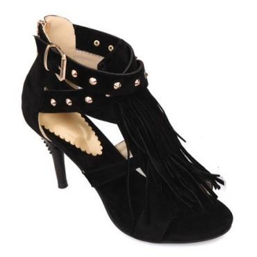 Sandales franges, petites pointures, noires, Hava