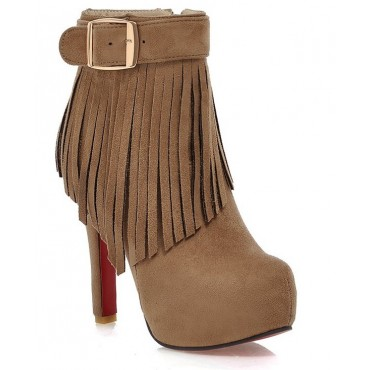 Bottines, hauts talons, franges, beiges, Marilou