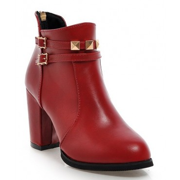 Bottines, aspect cuir mate, petites pointures, rouges, Nina