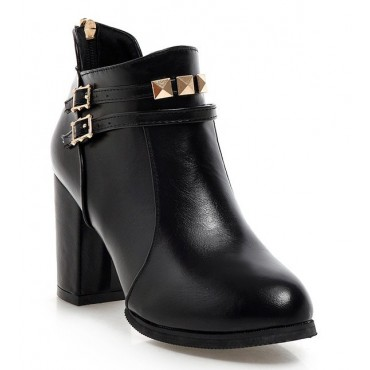 Bottines, aspect cuir mate, petites pointures, noires, Nina