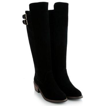 Bottes, aspect daim, noires, petites pointures, talon 4.5 cm, Julia