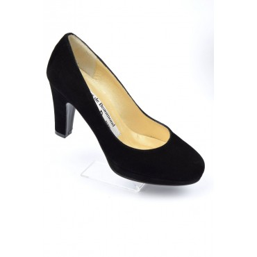 Escarpins cuir daim, noires, Yves de Beaumond, petites pointures,, Régina