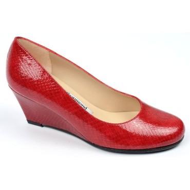 Chaussures cuir verni Calgary Rouges, talons compensés, Yves de Beaumond, petites pointures, talons 7 cm, Mady