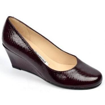 Chaussures cuir verni Calgary Bordeaux, talons compensés, Yves de Beaumond, petites pointures, talons 7 cm, Mady