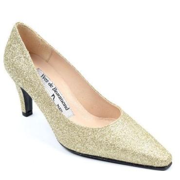 Escarpins cuir glitter paillettes Or , Yves de Beaumond, petites pointures, talons 7 cm, Venissia