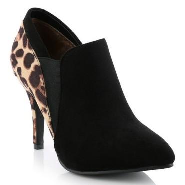 Bottines cheville, aspect daim, noires, arrière léopard, talons 9 cm, petites pointures pour femmes, Nissia