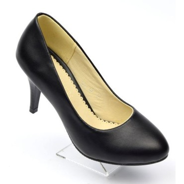 Escarpins, bouts ronds, aspect cuir mate noire,talon 7,5 cm, Pointure 32,5, Delphine