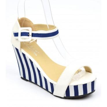 Sandales compensées à rayures bleu et blanc, Adeline, petites pointures