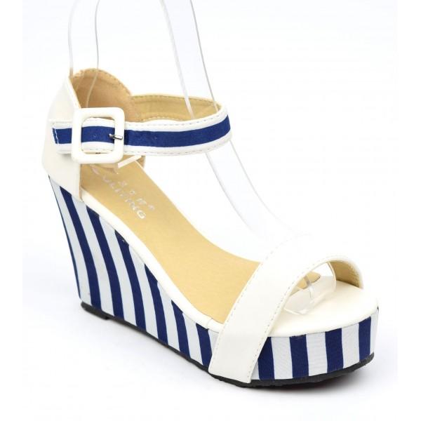 Sandales compensées à rayures bleu et blanc, Adeline, petites pointures PETITS SOULIERS