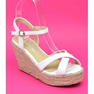Sandales blanches, talons compensés, Lodelia, femmes petites pointures