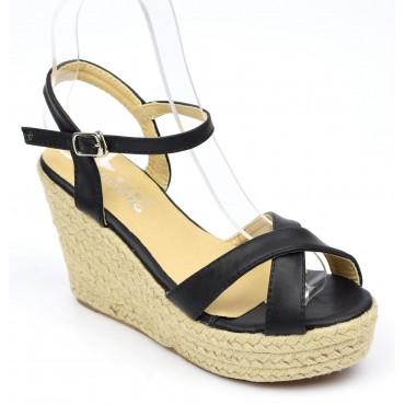 Sandales noires, talons compensés, Lodelia, femmes petites pointures