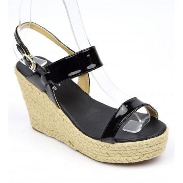 Sandales compensées, vernies, noires, Noya, femmes petites pointures