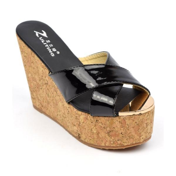 100% qualité garantie meilleure valeur chaussures de séparation Mules femmes petites pointures talons compensés, vernis noires, Pola -  PETITS SOULIERS