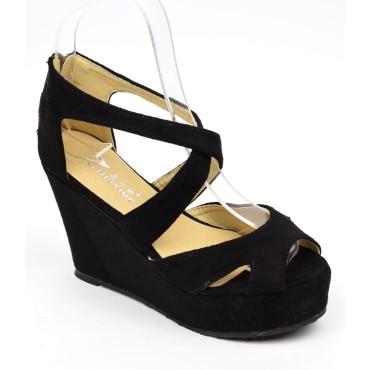 Sandales mi-saison compensées noires, Kora