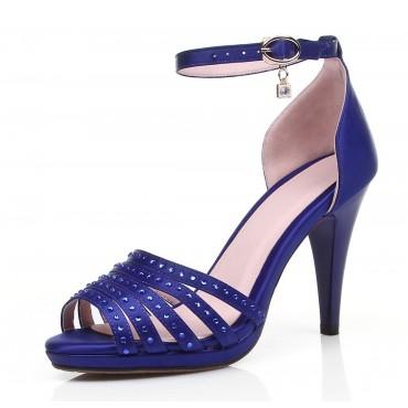 Sandales satinées, bleues, Scarlett, petites pointures femmes