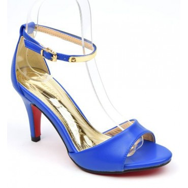Sandales brides, aspect cuir mate, bleues, Jelena, femmes petites pointures