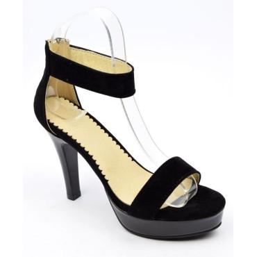Sandales, noires, aspect daim, Brandie, petites poinures femmes