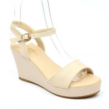 Sandales compensées beiges Brina