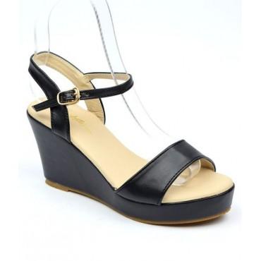 Sandales compensées noires Brina