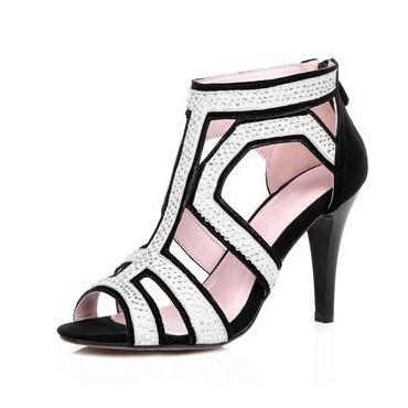 Sandales cuir daim noires, strassées, aspect daim, Talina, petites pointures femmes