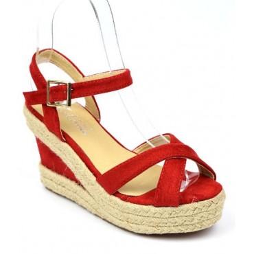 Sandales à talons compensés, rouges, Yara, petites pointures femmes