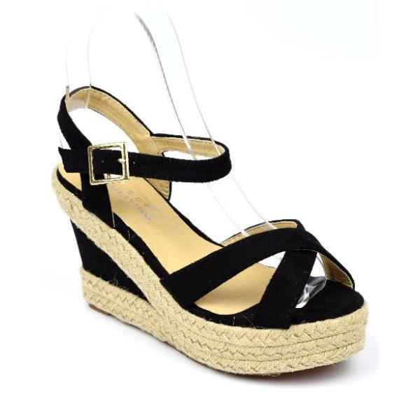 Sandales à talons compensés, noires, Yara, femmes petites pointures PETITS SOULIERS