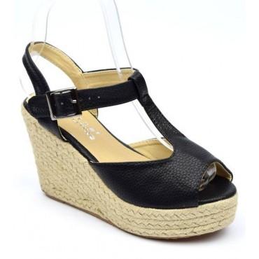 Sandales noires, talons compensés, Pakita, femmes petites pointures