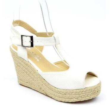 Sandales blanches, talons compensés, Pakita, femmes petites pointures