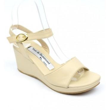 Sandales cuir, beiges, talons compensés, Yves de Beaumond, Nady, Petites pointures femme