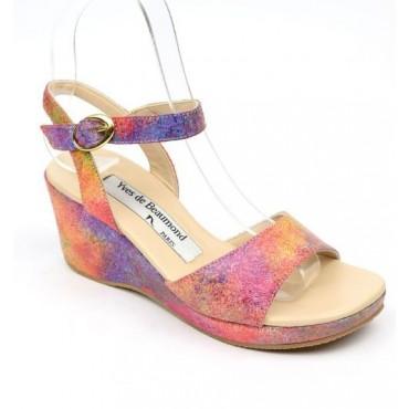 Sandales cuir, multicolor, talons compensés, Yves de Beaumond, Paloma, Petites pointures femme