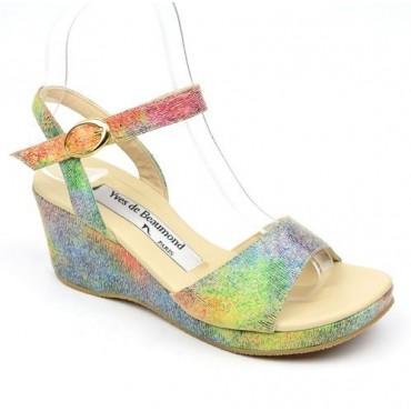Sandales cuir, multicolor, talons compensés, Yves de Beaumond, Lavinia, Petites pointures femme