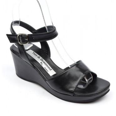 Sandales cuir, noires, talons compensés, Yves de Beaumond, Nady, Petites pointures femme