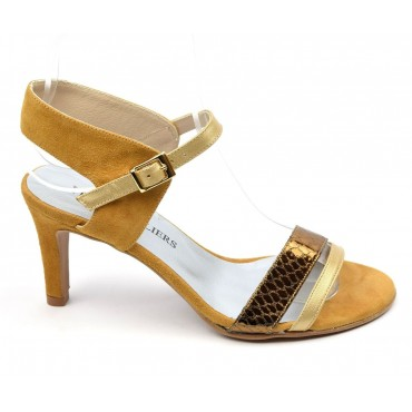 Sandales cuir daim, miel, talon 7,5 cm, Brenda Zaro, Helira