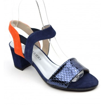 Sandales cuir daim, bleu marine, talons 5 cm, Brenda Zaro, Angelie