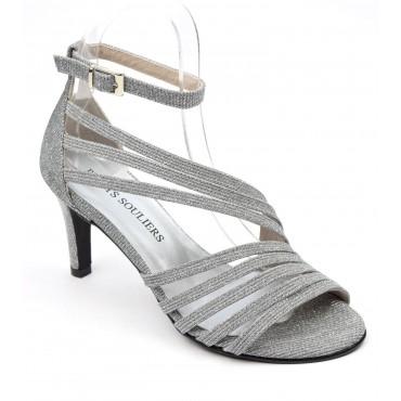 Sandales cuir glitter, argent pailleté, talon 7,5 cm, Brenda Zaro, petites pointures, Destina