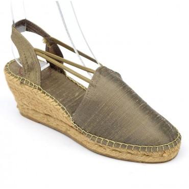 Espadrilles sandales compensées, femmes, petites pointures, soie, taupes, Toni Pons, Dolanie
