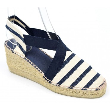 Espadrilles sandales compensées, petites pointures, rayures, bleu marine, Toni pons, Nahia