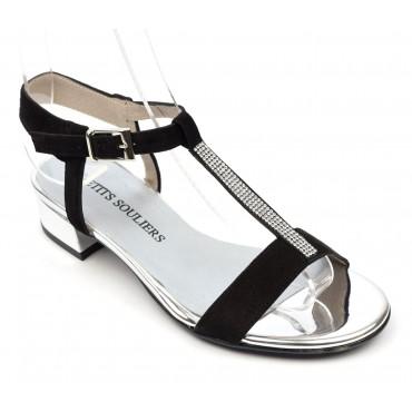 Sandales Daim Brenda Zaro, talon carré 3,5 cm, noires, Onelia
