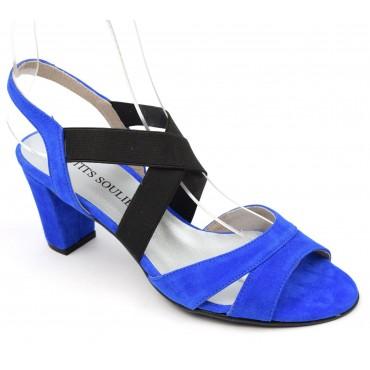 Sandales Cuir Daim Brenda Zaro, talons 7 cm, bleues, Juna