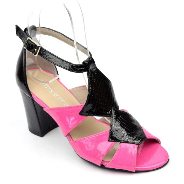 Sandales cuir verni Brenda Zaro, bicolores, noire et fushia, talon 7,5 cm, Meliane
