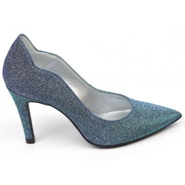 Escarpins Cuir Glitter, bleus, bouts pointus, Talons 8 cm, Rubis