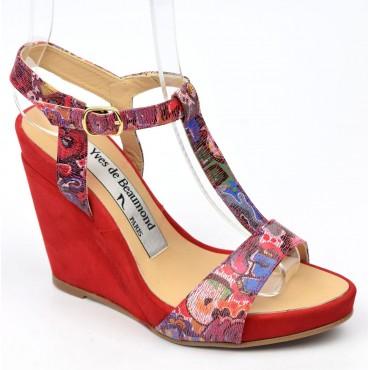 Sandales cuir daim, rouges, talons compensés, Yves de Beaumond, Koline, Petites pointures femme