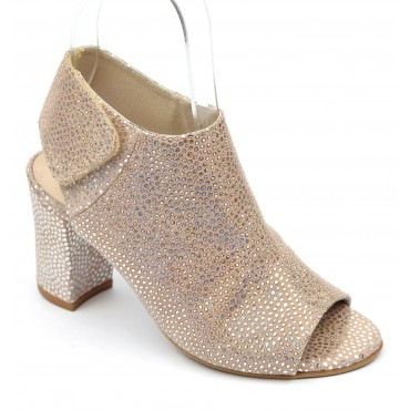 Sandales cuir strassé, Brenda Zaro, nude, talon 8 cm, Laora