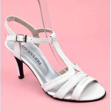 Sandales cuir mate, Brenda Zaro, blanches, talon 8 cm, Felicity, femmes petites pointures