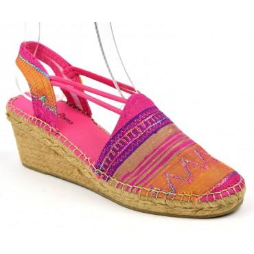 Espadrilles, compensées, femmes, petites pointures, soie, multicolore, fushia, Thya