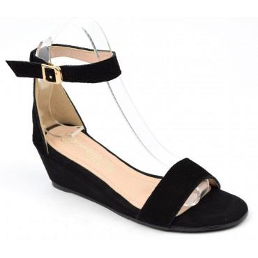 Sandales cuir daim, noires, talons compensés, petites pointures, Marthy