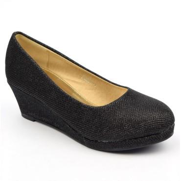 Chaussures compensées, pailletées noires, talons 5 cm, femmes, petites pointures, Mathea
