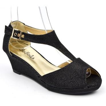 Chaussures compensées ouvertes, pailletées noires, talons 5 cm, femmes, petites pointures, Karen