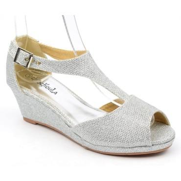 Chaussures compensées ouvertes, pailletées argent, talons 5 cm, femmes, petites pointures, Karen