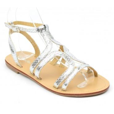 Sandales plates, aspect serpent argent, femmes petites pointures, Fiby